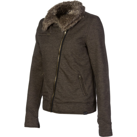 Skateboard The Vans Danny Jacket combines a cropped moto silhouette with a cozy faux-fur collar. - $54.89