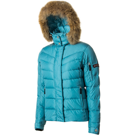 Bogner ups the ante for down jackets everywhere with its Women's Sale Down Jacket, which includes a ruff of Finnish raccoon fur on the hood that gives it style for miles. This slim-fitting down jacket gives you the warmth and protection you need to rock the streets of a snowbound city or an Alpine resort town, but also includes a powder skirt and knit wrist gaiters should you decide to take the party to the slopes. - $382.82
