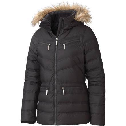 Instead of feeling glued to your sofa when the temps plummet, zip up the Marmot Women's Gramercy Down Jacket and cruise around town in comfort. This jacket is stuffed with 650-fill goose down for unmatchable warmth and the removable fur ruff around the hood provides some classic parka style. - $151.22