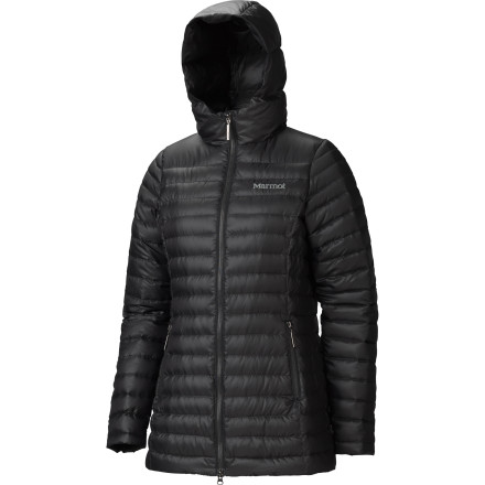 There's nothing quite like bundling up to enjoy a crisp, cold day or night. The trails and streets are empty, and it's just you, your comfortable independence, and your Marmot Women's Verona Down Jacket. With 800-fill down insulation and hood keeping you toasty, an ultralight, ripstop, DWR-treated shell to fend off the wet and wind, and an extra-long, butt-covering length, while everyone else is cramped in the cabin, you breathe in fresh air and enjoy an unspoiled vista. You sort of wish your friends had jackets this warm; then again this private wonderland is pretty nice. - $137.47