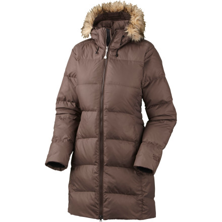 Ski Down is just as functional on the city streets as it is in the mountains, which is why Mountain Hardwear designed the Womens Downtown Down Coat. This long-length puffy feature toasty 650-fill goose down and a plush fleece lining for big-time winter comfort. The insulated, removable hood features faux-fur trim for some urban style. - $194.97