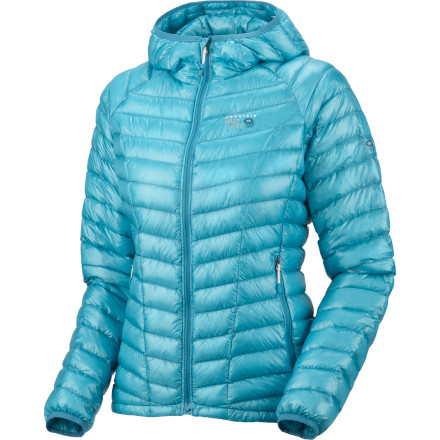 Climbing The Mountain Hardwear Ghost Whisperer Hooded Down Jacket gives you warmth without weight or bulk. Thanks to its 850-fill goose down insulation, you stay plenty warm while you belay your ice climbing partner, and thanks to its low profile and quilted construction, you won't look like an overstuffed teddy bear. - $194.97