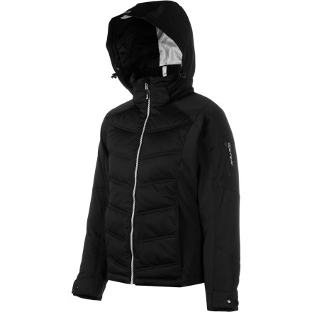 Ski Beauty is more than skin-deep for the Obermeyer Women's Circuit Down Jacket, with its luxuriously soft and super-protective exterior and warm,  lofty down interior. And stretchy side panels and ski-specific articulation allow for optimal movable comfort. Gorgeous on the outside, inside, and side-side. - $162.14