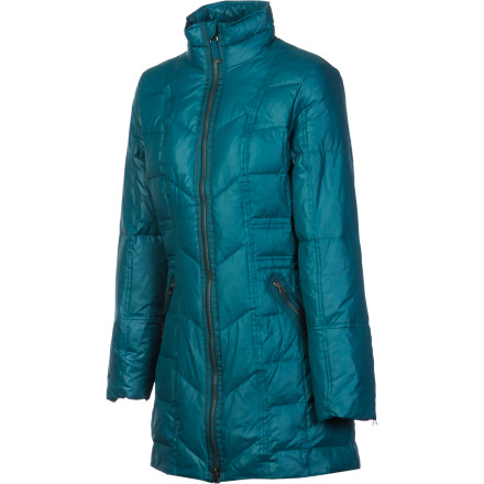 Fitness Wrap yourself in the prAna Women's Devan Down Jacket, step outside in the bitter cold weather, and let the cozy warmth of its 750-fill down insulation keep you comfortable as you run errands or take the dog for a walk. A long torso enables you to withstand the icy chill of an outdoor bench, while the Devan's light weatherproofing helps shield you from blowing snow. - $119.48