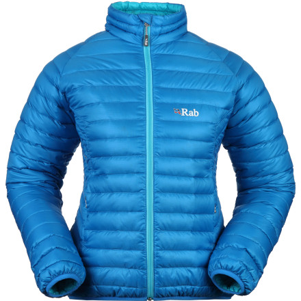 Climbing Why should you add the Rab Women's Microlight Down Jacket to your touring, ice climbing, backpacking, or mountaineering gear arsenal' Because you'll have a hard time finding a mid-layer that provides so much warmth while taking up so little space in your pack. The short cut and snug band at the waist and cuffs translates to a comfortable fit that locks out cold air and retains crucial warmth in bone-chilling conditions. - $214.95