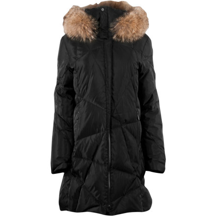 Let the Earth freeze over, for you are wrapped in the safe haven of the luxurious, toaster-oven-warm, super-stylie Spyder Women's Ice Down Jacket. It's stuffed with 650-fill goose down and covered by an insanely soft, downproof, water-resistant, breathable, and beautiful shell. You can go way uptown with a real fur-trimmed hood or remove the trim for a down-home walk in the park. With sparkly zippers and a geometric quilt pattern, you will ooze cosmopolitan cool while you have winter-weather fun. - $384.97