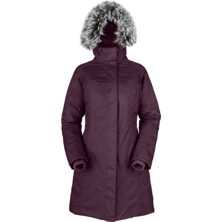 It can be tough to look elegant once January closes in and you're fighting sub-zero nastiness on your way to work. The North Face gives you the solution with the Women's Arctic Parka. Waterproof breathable HyVent nylon fabric and plush 550 fill goose down create a barrier between you and Old Man Winter, while the long cut and stylish removable faux fur maintain a sophisticated look so you don't look like you just climbed Everest. - $181.47