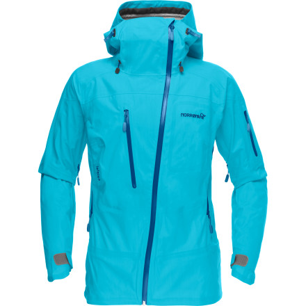 If things usually get a little swampy under your hardshell when you're working up a sweat bootpacking to the ridge or slashing turns through deep snow, you need the ultra-breathable Norrna Women's Lofoten Gore-Tex Active Shell Jacket. Between the tough but lightweight, waterproof, and highly breathable Active Shell technology, the extra-deep underarm zip vents, and the new mesh-lined VentPoc pocket on the front, you can blow off steam without completely shedding your protection from the high-alpine elements. - $419.82
