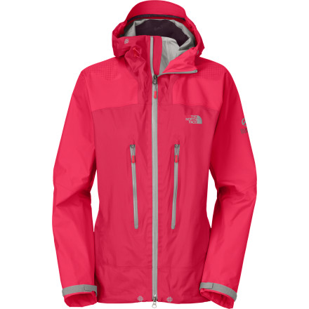 The North Face's athletes attempted the Shark's Fin of Meru in the Himalaya, spent 19 days on the wall, and came back with design ideas for the Women's Meru Gore Jacket. This thing was made with the serious outdoor enthusiast in mind. From the guaranteed waterproof breathable Gore-Tex Active Shell to the harness-friendly cut to the tough grip zones on the shoulders and hips to keep your pack firmly in place, the Meru is a no-nonsense piece. - $279.27