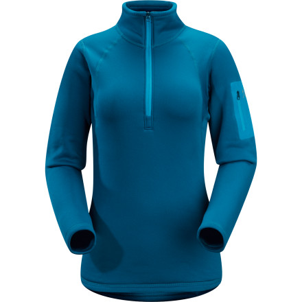When the weather in the hills turns frigid, don't mess around; turn to the Arc'teryx Women's Rho AR Top for expedition-weight insulation. Polartec Power Stretch fabric offers cozy warmth while wicking furiously to keep you dry; the stretchy fit also hugs your body to make layering under your shell more comfortable. - $97.27