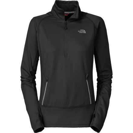 The North Face Women's Bubblecomb  1/2-Zip Long-Sleeve Top is perfectly content to travel in your backpack or beach tote until the breeze picks up and you need a touch of light protection. Whether you're out on the crag or in the dunes, this lightweight, packable midlayer offers just enough warmth and plenty of stretch for active afternoons. - $48.72