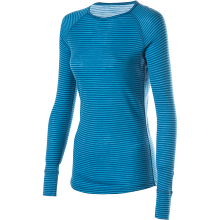 Throw out your old synthetic long underwear and make the switch to merino wool with the Ibex Women's Woolies Crew Lightweight Long Underwear Top. The 18.5 Micron New Zealand merino wool feels soft against your skin and regulates your body temperature. Flatlock seams ensure you stay chafe-free, and cuff details add some flare so you can wear this in the lodge worry-free. - $43.97