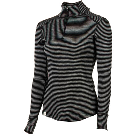 Layer up for a weekend on the slopes or for a shoulder-season trek into the high country with the Ibex Women's Woolies Zip T Stripe Top. - $84.95