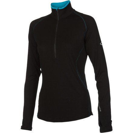 Continue your training regimen into the fall and winter with help from the Icebreaker Womens GT 200 Pace Zip Top, a high-performance merino wool base layer thats ideal for aerobic workouts in cool-weather conditions. - $71.47