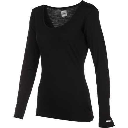 Ski Slip on the Icebreaker Women's BodyFit 200 Scoop Neck Long-Sleeve Top whether you're about to head to the ski resort, go out for a trail run, or take on an ambitious late-fall hike. Its non-itchy, quick-drying, moisture-wicking merino wool fabric keeps you warm on cool days as well as regulate your temperature when you heat up. - $55.97