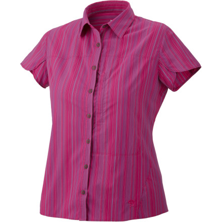 The Mountain Hardwear Women's Trailend Stripe Short-Sleeve Shirt looks like a relaxed, stylish top, but don't be fooled. This shirt is a piece of high-performance gear designed to keep you feeling great whether you're on the trail or in the office. - $32.48
