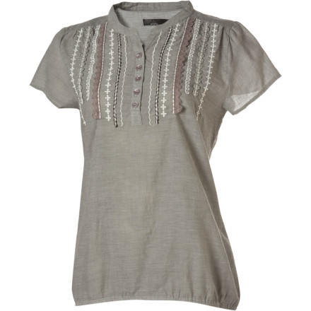 Here's a sure cure for your warm-weather wardrobe rut: the prAna Women's Blanca Top. From its shirred front shoulders through its embroidered front and down to its elasticized hem, this chambray top is all about giving you a fun, funky cure for the T-shirt blahs. - $27.48