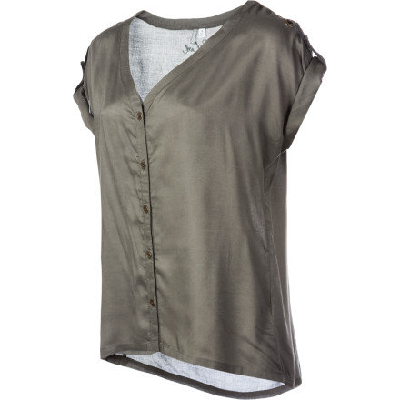 Surf Button up in your Rip Curl Women's Artist Short-Sleeve Shirt, tie a scarf around your neck, and crack open the champagne and the oil paints. This silky top has an artistic feel that would be at home in a Parisian antique store or a campus cafe. - $29.87