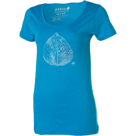 Pull the Arbor Women's Aspen Short-Sleeve Shirt over your head before you head out for a day of planet-saving super-heroism. This soft shirt uses some pretty good environmentally friendly practices. Plus, there is a leaf on it to help you remember to take care of your world. - $20.97