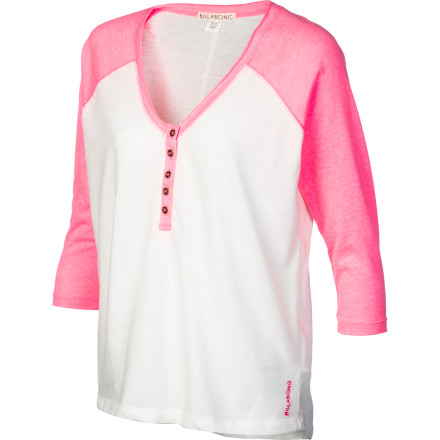 Surf Not your average baseball-style shirt, the pieced-neon Billabong Women's Relay Henley Shirt will shock your friends to life and brighten up any scene. A front button placket and raw edges add fun detail to this sporty top. - $25.17