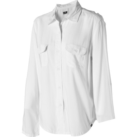 No wardrobe is complete without at least one shirt like the DC Women's Olsson Shirt. This classic white button-down includes internal tabs on the long sleeves if you care to roll them up; a painted button detail gives it just a little edge. - $24.00