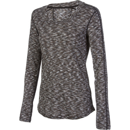 A self-bound scoop neck and unique space-dye effect may set certain expectations for the ExOfficio Women's Chica Cool Scoop Long-Sleeve Shirt, but they're blown away when you hit the road or trail. Instead of a cute but somewhat impractical top, you find you're wearing a wicking, odor-fighting performance shirt. - $33.00