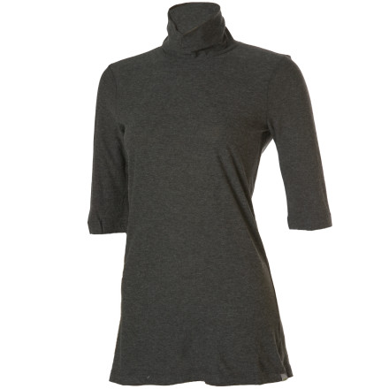 Sometimes you dont need a plunging neckline to be sexy, as the Horny Toad Womens Demure Long-Sleeve Shirt proves. Theres nothing prim about this soft organic cotton-Modal blend jersey top, which evokes a Hepburnesque sophistication with its double-layer slouchy mock neck and caf-length sleeves. - $11.39