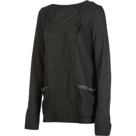 Give the classic cardigan a twist with the Horny Toad Women's Wrapup Shirt, adding elegant drape, pockets, and hem-showing wrap closure. This shirt hints at a regal heritage but paired with a stretchy legging is right at home curling up on the couch or grilling in the backyard. - $41.22