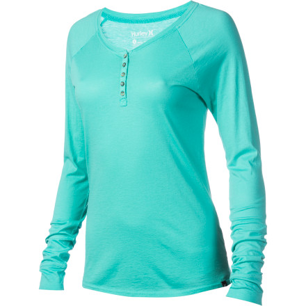 Surf The Hurley Women's Henley Long-Sleeve Shirt is great when you want a relaxed, too-cool-to-care look; you can always throw in some spice by layering it under a vest or denim jacket. - $26.51