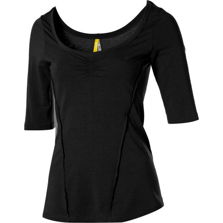 Spread positive energy everywhere you go wearing the flattering, comfortable Lole Women's Kind Shirt. This 3/4-sleeve with a ballet-style deep scoop neck and a slimming exposed seam detail in the front is so kind to you, you can't help but share the karma. - $29.98
