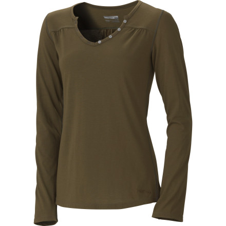 Camp and Hike Marmot made the Women's Leah Long-Sleeve Henley from the performance-oriented Dri-Release Wool fabric and gave it a big helping of feminine style. Now you can either look fantastic as you hike up the trail, or stay cool and fresh as you sweat your way through a blind date. - $38.97