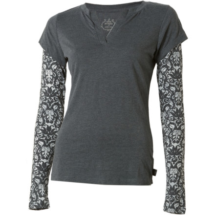 If you love the T-shirt-over-thermals look, but your thermals don't meet your standards for out-on-the-town wear, give the prAna Women's Stella Long-Sleeve Top a try. Designed to give you a cute layered look, the Stella incorporates complementing sleeves into a traditional V-neck tee. - $30.22