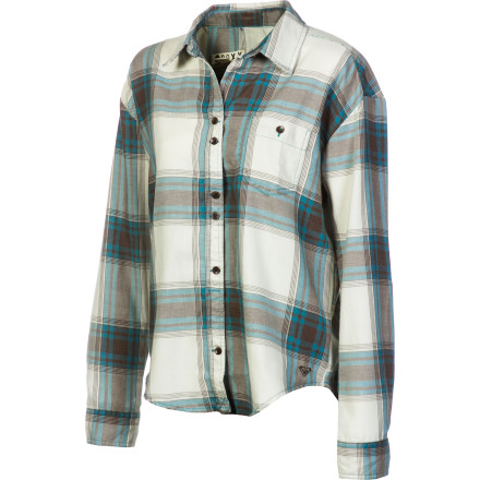 Surf Roxy's Women's Faded Journey Shirt adds a contemporary twist on the classic flannel shirt. This old favorite now enjoys a slightly cropped front, drop-tail hem, and modified dolman-sleeve cut for a look that's utterly up-to-date. - $24.75
