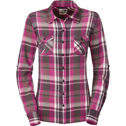 After a long day of driving, pull into your campsite, roll up the sleeves on The North Face Women's Suncrest Flannel Long-Sleeve Shirt, and set to work on dinner and a cozy campfire. - $41.97