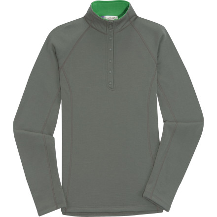 Soft, warm, breathable, and odor-resistant, the Ibex Nomad 1/2 Snap Top feels like it's woven with magic. And logo snaps, contrasting collar, and flatlock seams make this midlayer fleece so classy, comfy, and sensibly stylish that you won't want to cover it up, and that's your prerogative. - $103.97
