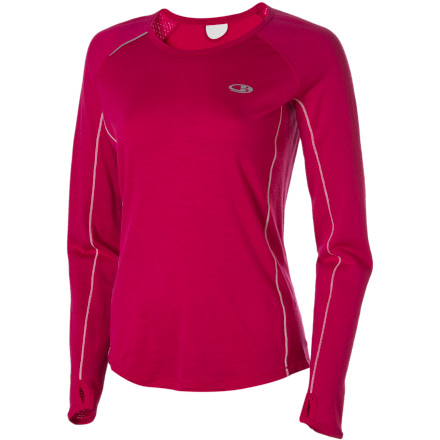 Fitness Ditch your cotton running tee for the Icebreaker Women's GT Run Rush Crewe. Why' Because buttery-smooth merino wool breathes naturally, resists odor, and dries quick. A touch of Lycra woven into the body fabric allows this top to move as you move and stretch as you stretch. Added to this, Icebreaker cut the Rush with a shaped hem that hugs your body gently, all the way up to the scooped neckline that gives you room to breathe. Running with music is a must for some, so a loop at the back of the neck helps keep your earphone cord from bouncing around. ... Wow, they thought of everything. - $44.98