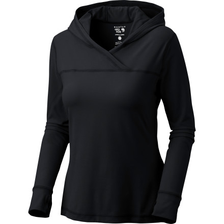 Climbing Yum, it's backthe deliciously soft Mountain Hardwear Women's Butter Topper Hooded Long-Sleeve Shirt. The silky, stretchy fabric makes this an irresistible choice after a climb (or during, if it's a little cool out), traveling to and from the gym, or any time you want a little low-calorie pampering. - $69.95