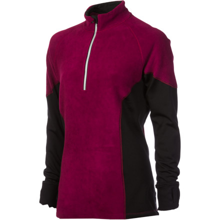 The crisp winter air is invigorating, so you pull on the Skirt Sports Women's Toasty Mitts Shirt with stretch, warmth, and built-in hand-warming mitts and head outdoors. Its zip neck and mitts that stow away in a hidden pocket give you have plentiful options for fluctuating temps, and contour side panels and a semi-fitted silhouette give you a flattering everyday look. - $49.47