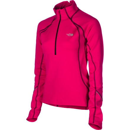 The North Face Women's Momentum 1/2-Zip Long-Sleeve Top helps you keep a solid pace on the trail no matter what the obstacles, thanks to its mesh ventilation panels and stretchy fabric. - $43.97