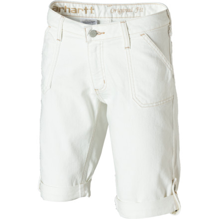 You may have traded swinging on a rope hung from the barn rafters for more adult pursuits, but that doesn't mean you still can't enjoy a short like you wore back then, the Carhartt Women's Tomboy Short. But although this longer-cut denim short is very similar in spirit, it boasts some sophisticated details like a rolled cuff with a side button tab. - $39.99