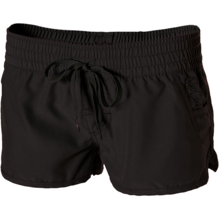 Surf Avoid losing your bottoms to the surf with the Rip Curl Women's Love N Surf 2in Board Short. This easy-fit board short has a drawcord that pulls snug to keep your bottoms in place rather than washed out to sea. Scalloped hem side seams give you a comfy look, while a satin underside feels delightful against your sun-kissed skin. - $35.95