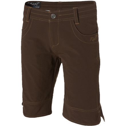 Climbing The durable, stretchy, and UV-blocking TuffleX material in the KUHL Women's Travl Bermuda Short may be a bit much for the tropics, but it's just right for that northern-Italy truffle hunt you've always dreamed of experiencing. Thanks to the long Bermuda cut, the quick-drying, super-soft Travl is more than ideal for just about any local or destination adventure you could possibly think of. - $32.48