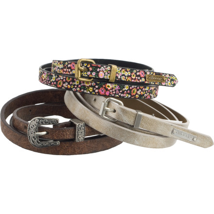 Surf With the Billabong Women's Pack Rat Skinny Belt 3 Pack, you won't be diving into your drawers looking for something to perfect your outfit. The Pack Rat offers you a mix of fabrications and colors that makes it easy to pair with any number of outfits. - $19.73