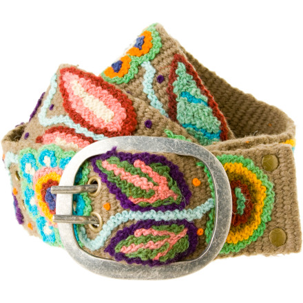 The Pistil Blossom Belt is not merely a means of holding up your pants; it's a conversation-starting piece of textile art. This unique (literally, because each one is slightly different) belt was hand-woven and hand-embroidered in Peru in a Fair Trade co-op. A pewter-finish buckle finishes off this arty, yet utilitarian, expression of your special style. - $40.27