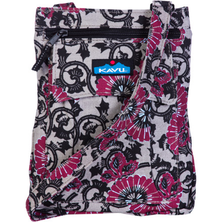 Entertainment With five separate organizer pockets, the Kavu Women's Keeper Bag puts your old, black-hole-like purse into retirement. The Keeper's magnetically closed front pocket grants easy access for emergency phone silencing. Adjust the shoulder strap for comfortable carrying and head into town. - $20.77