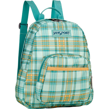 Camp and Hike The Jansport Half Pint Backpack is a miniature version of the super popular Superbreak. The Half Pint offers just enough room for the essentials, making it great as a purse or a first pack for the chillins. The main compartment fits makeup and a day planner or a bag lunch and some stickers. The front zippered pocket keeps loose change in one place, and the cell phone pocket lets you catch those important calls. The Half Pint Pack's web shoulder straps adjust easily with no loose ends. - $24.95
