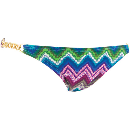 Surf Walk the beach like it's the red carpet with the Lspace Ibiza Kelsey Hipster Bikini Bottom. The paparazzi will froth over the boho-chic print and matte gold-chain side details, and the full-cut back prevents you from giving too much away when the camera bulbs are flashing. - $51.77