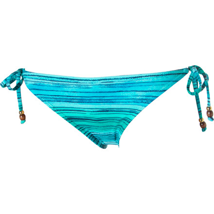 Surf The Reef Ocean Swell Tie Side Pant Bikini Bottoms have moderate back coverage so you won't feel like you're drifting toward thong or granny-panty, and beads on the ties match with the beads on the Ocean Swell bikini tops for a sweet island look.r - $9.29