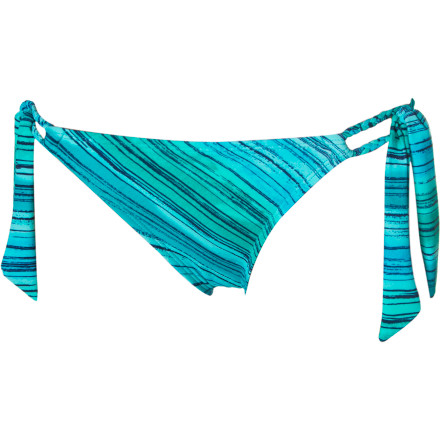 Surf The Reef Ocean Swell Retro Ties Bikini Bottom has side ties that add a braided look to your lowers and that match with the Ocean Swell Bandeau and Halter Bras. - $15.73