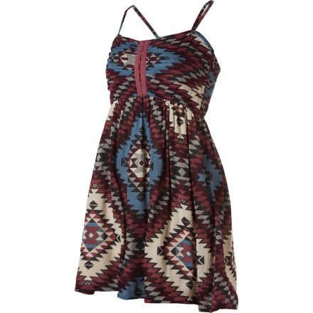 Entertainment Slip into the Billabong Women's Davenport Dress after a full day of traveling to your tropical destination. Adjustable spaghetti straps give you a just-right fit, while its woven crinkle style, upper bodice pintucking detail, and smocked back bodice give you a sultry look that says you're ready for a cocktail (preferably one with an umbrella sticking out of it). - $19.73